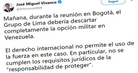 Director de Human Rights Watch dice que se debe descartar la opción militar en Venezuela