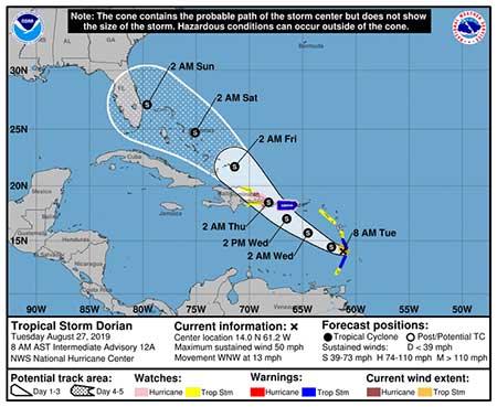 Dorian podría llegar a la Florida este fin de semana