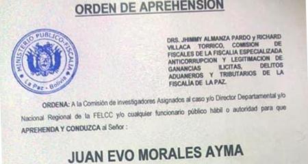 Justicia de Bolivia emite orden de captura para Evo Morales