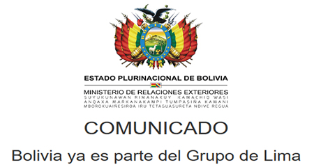 Bolivia se une al Grupo de Lima